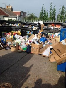 Rubbish piles up at the Hanover Centre recycling centre this week following Monday's strike