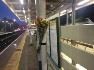 A floral tribute at Preston Park Station. Picture by Tim Hodges