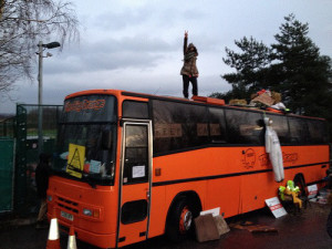 The Big Orange Bus at the Barton Moss blockade. Picture courtesy of Frack Free Manchester.