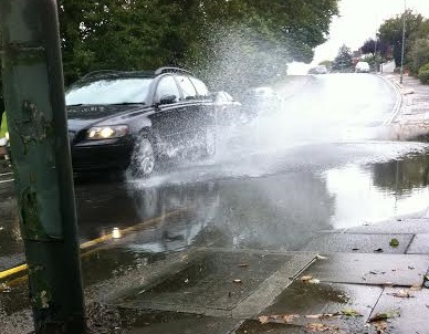 A blocked drain left Goldstone Crescent in Hove flooded today (Wednesday 8 October)