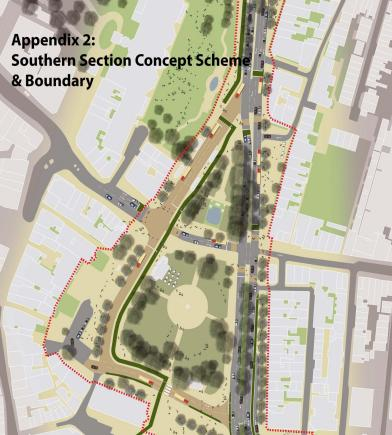 The proposed Valley Gardens southern section
