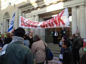 Protesters outside Barclays bank in North Street in Brighton - Picture by Tim Hodges