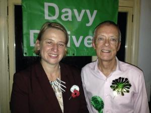 Natalie Bennett with Davy Jones, who stood for the Greens in Brighton Kemptown at the last general election