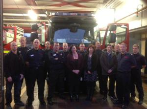 Shadow Fire Minister Lyn Brown MP with Nancy Platts, East Sussex FBU chairman Simon Herbert, Borough Commander Mark Matthews and White Watch at Hove Fire Station
