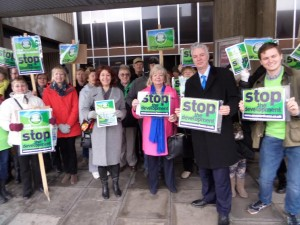 Nancy Platts, Mary Mears, Simon Kirby and others protest against the Meadow Vale planning application