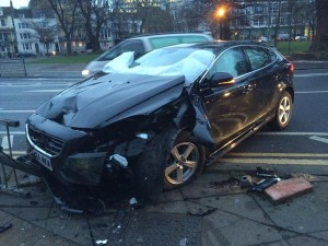 A car crashed after coming off the road at Marlborough Place, Brighton