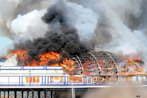 Eastbourne Pier on fire in 2014 by Brian & Jeff on Flickr