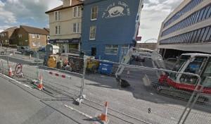 Edward Street roadworks. Picture taken from Google Streetview