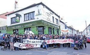 Campaigners gather to show their support for the Horse and Groom