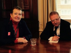 Council chief executive Penny Thompson and GMB Sussex branch secretary Mark Turner meet earlier this week