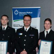 PC Alec Barrett, Assistant Chief Constable Robin Smith and PC Alison Deller