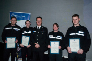 Sergeant Dave Bennett, PC Georgina Edge, PC Lizzie Luckman and PC James Conway with Assistant Chief Constable Robin Smith
