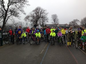 Riders pause their slow ride at the Preston Park Velodrome today