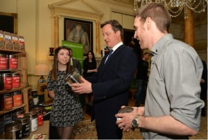 Krisi Smith and Mike Turner, from the Bluebird Tea Co, talk tea with David Cameron at 10 Downing Street