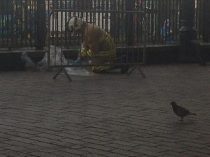 A firefighter at the scene at Brighton Station. Picture by Sebastian Handley on Twitter