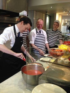George Osborne, left, and Graham Cox, centre, at Pizza Express in Hove