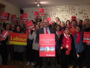 Councillor Warren Morgan with Labour candidates and supporters