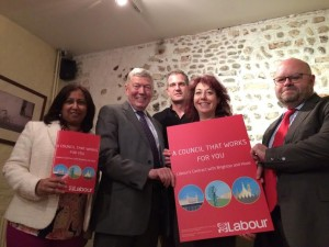 Purna Sen, Alan Johnson, Peter Kyle, Nancy Platts and Warren Morgan at the launch of Labour's manifesto for Brighton and Hove