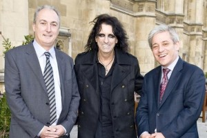 Mike Weatherley with Alice Cooper and Commons Speaker John Bercow