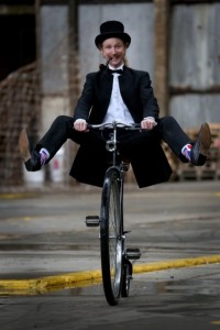 Picture of Penny Farthing at Bike Hub launch courtesy of www.circusstreetbrighton.com