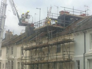 Firefighters rescued a man who fell ill while at the top of a scaffold in Lansdowne Street in Hove