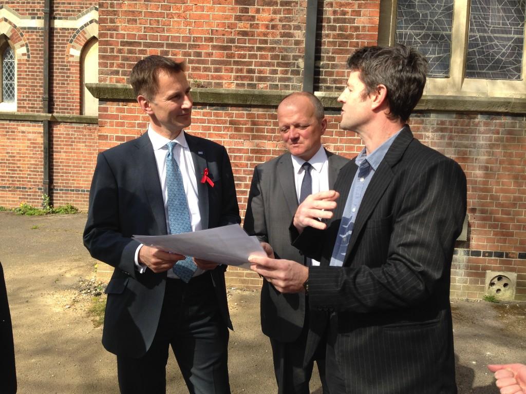 Health Secretary Jeremy Hunt with Graham Cox and Tim McMinn