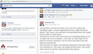 Graham Cox Facebook screenshot - defaced poster