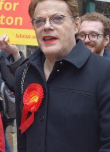 Eddie Izzard in Brighton supporting Labour PPC Purna Sen's campaign last May