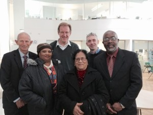 Robert Peden, Sophia Swartz, Andy Winter, Bijoya Chakravarty, Simon Hughes and Fitz Jackson at First Base in Brighton