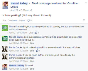 Greens youth rally parking Facebook exchange