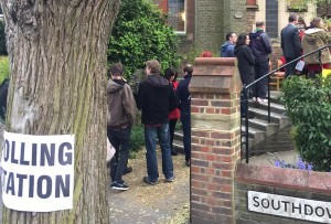 Polling station queue by Sylvia Park