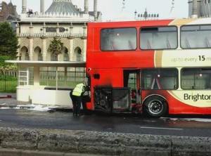 Burnt Brighton and Hove bus by Terry Purcell
