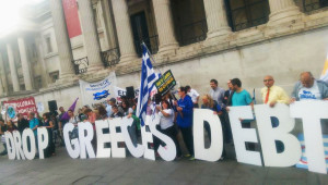 Greece debt protest pic from the Global Justice Now website