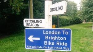 London to Brighton Bike Ride Ditchling Beacon sign