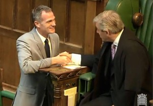 Peter Kyle shakes hands with Speaker John Bercow after being sworn in