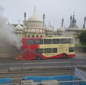 A bus on fire outside Brighton Pavilion. Picture by @PJN74 on Twitter