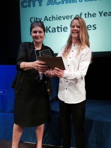 City College Achiever of the Year Katie Bates with interim principal Monica Box