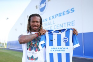 Gaetan Bong signs for the Albion at the American Express Community Stadium, Brighton and Hove, England on 2nd July 2015.