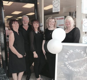 Hair Scene - Sue and Keith Stevens, daughter Kelly and staff members Lydia Phillips and Claire Barden