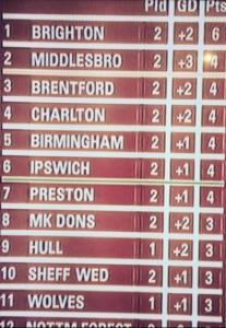 Brighton and Hove Albion league table 20150815