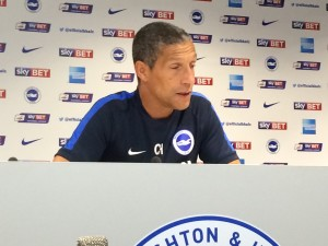 Chris Hughton at the Albion press conference 20150817
