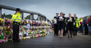Civic leaders and representatives of the emergency services add to the tributes left to victims of the Shoreham airshow crash