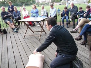 Emergency medicine consultant Rob Galloway trains people in resuscitation