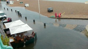 Flooding along Brighton seafront last month. Picture by Mary Stevens