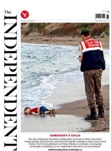 Alan Kurdi - aka Aylan - on the Independent front page