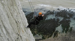 Martlets director of income generation Sally Brighton joins the charity's fundraising abseil in Peacehaven