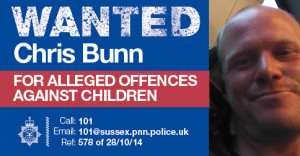 Wanted Chris or Christopher Bunn poster
