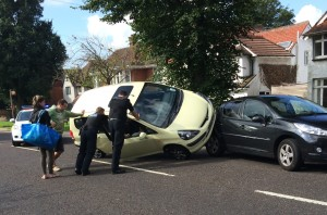 car crash Shirley Drive Hove 20150901