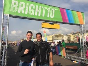 Bright 10 20151018 Commentator Kev Mason and race director Gavin Stephens