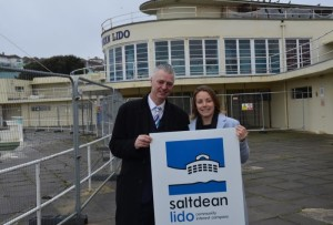 Simon Kirby MP and Rebecca Crook from the Saltdean Lido CIC